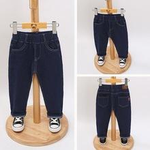 兒童童褲中小童男童百搭口袋牛仔褲褲腰貼標松緊腰帶時尚廠家直銷