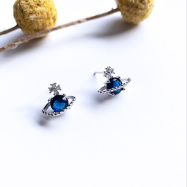S925 sterling silver creative blue planet earring female Korean personality simplicity temperament network celebrity trendy ear jewelry