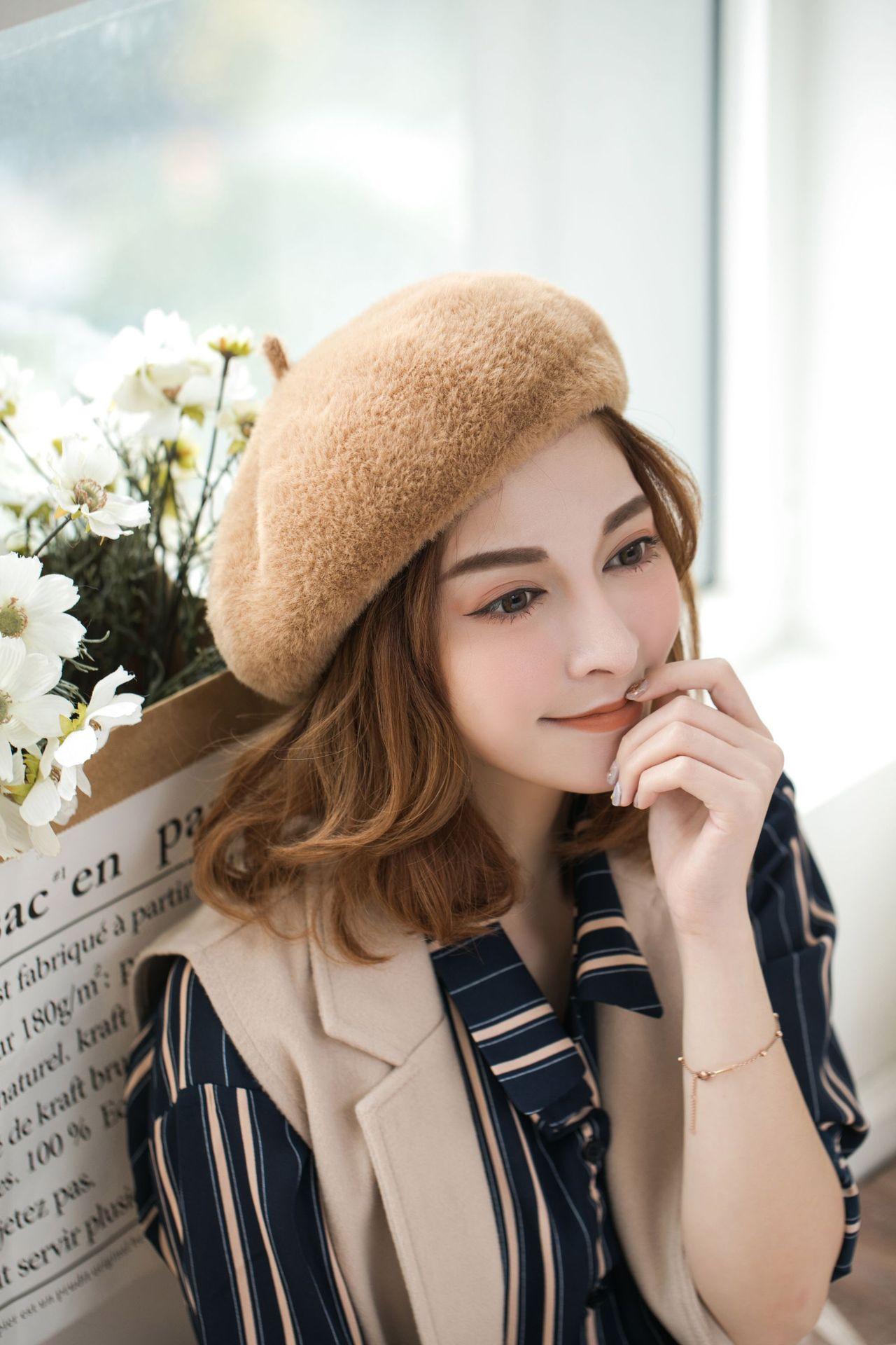 b249a03fe0842 2019 Winter Warm Womens Beret High Quality Mink Hair Beanie Japanese ...