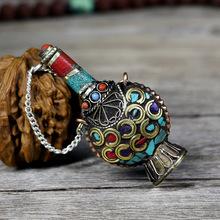 藏族工艺品纯手工鼻烟壶铜质镶绿松石款做旧西藏特色手工艺品批发