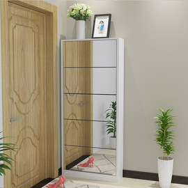 @ tipping shoe cabinet ultra-thin 17cm living room shoe cabinet doorway European multi-function mirror high cabinet economy # material