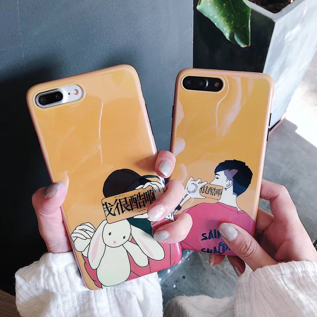 iphone8X mobile phone shell couple tide text personality apple 7plus all inclusive 6s I am very cool oh protective cover