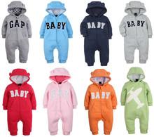 嬰兒純棉連體衣 新生兒爬服 加厚連身衣 寶寶外出服 連帽防風哈衣