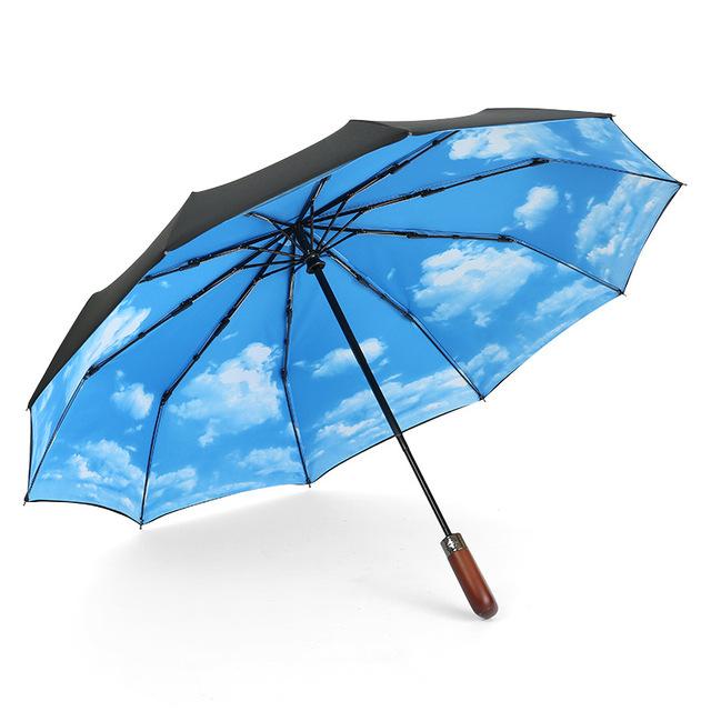 10 ô tự động tăng gấp đôi ô gió xương tay cầm bằng gỗ gấp kinh doanh ô quảng cáo ô biểu tượng ô tùy chỉnh của nam giới Ô tự động