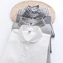 外贸单文艺双层棉纱衬衫 元宝领小圆领格子条纹长袖白衬衣纯棉女