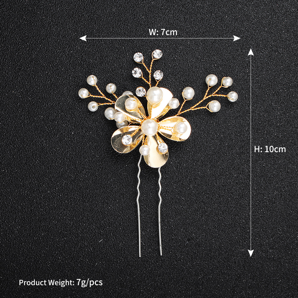 Beads Simple Flowers Hair accessories  (Alloy) NHHS0563-Alloy