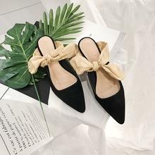 韩国丝带蝴蝶结单鞋低跟细跟鞋尖头性感高跟鞋OL女鞋凉鞋