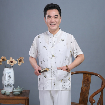 Chinese tang suit tops for Men clothing national men cotton and hemp Tang Dynasty clothes home clothes linen short sleeve suit for men