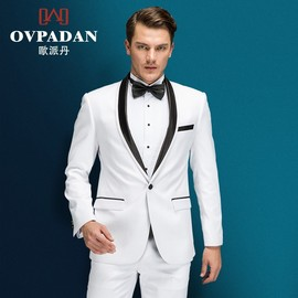 Men's Suit Wedding Groom White Dress Prom Banquet Cocktail Party Host Actor Clothes Men's Trousers