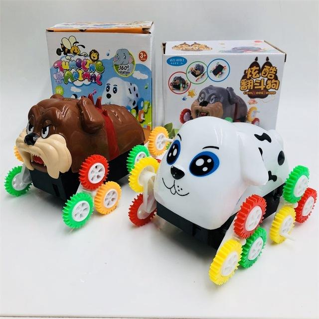 Đổ chó điện 2018 Năm mới chó màu bánh xe tải Xe tải lật bé chó con gian hàng đồ chơi bán buôn Đồ chơi xe điện