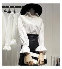 秋季韩国chic风下摆开叉绑带喇叭袖气质女衬衫中长款系带衬衣上衣
