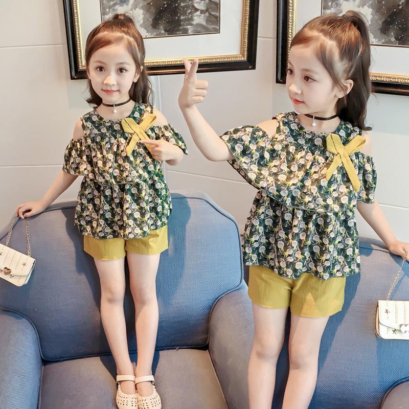 童装女童夏装2020 新款短袖露肩短裤两件套儿童裤套装XT507