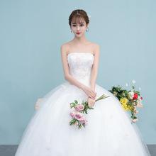 婚紗禮服2019新款抹胸大碼韓式齊地修身公主蓬蓬裙新娘結婚紗批發