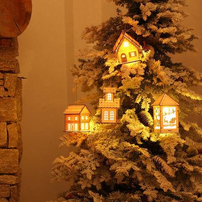 새로운 크리스마스 샬레 LED 조명 펜던트 축제 크리스마스 트리 장식 파티 장식 세트
