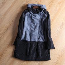 歐美范 女修身顯瘦 連毛領 人字紋羊毛呢拼接 棉衣外套 0.69