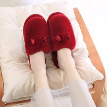 棉拖鞋新款冬季韩版时尚兔子耳朵拖鞋 情侣家居保暖拖鞋一件代发