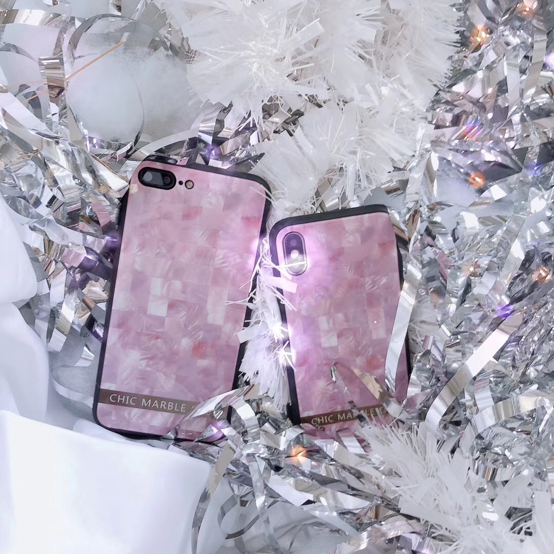 European and American style pink marble Ma suitable for Nao iPhoneX mobile phone shell creative glass shell Apple 8 protective cover