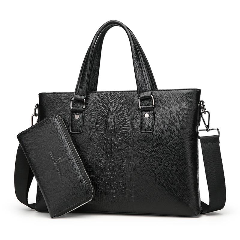 厂家直销新款真皮男包商务休闲鳄鱼纹牛皮手提包单肩背包送手包