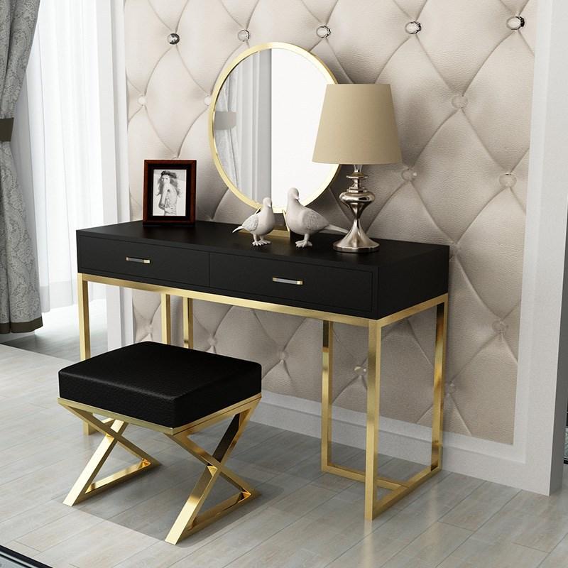 北欧时尚单人铁艺化妆台 简约白色网红小桌子小户型卧室梳妆台