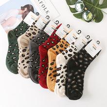 豹纹长筒袜冬季保暖袜子女士 珊瑚绒睡眠袜加厚韩国进口精梳棉袜