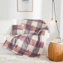 簡約全棉抱枕被子兩用靠墊被 純棉午睡被多功能夏涼汽車被大號