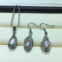 天然淡水珍珠套裝批發 吊墜耳環套裝 半銀個性米珠套裝大量供應