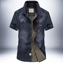 跨境代发牛仔衬衫男短袖夏新款纯棉宽松大码经典复古半袖衬衣6517