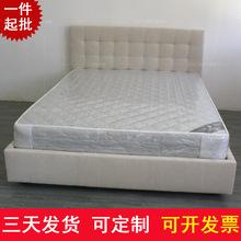绒布储物软床 新款米白色1.5米双人床 现代简约布艺1.8米床订制