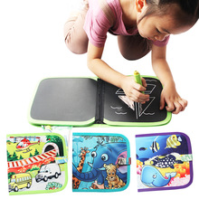 Children can recycle portable canvas cloth book, dust-free chalk canvas book, children's educational science toys