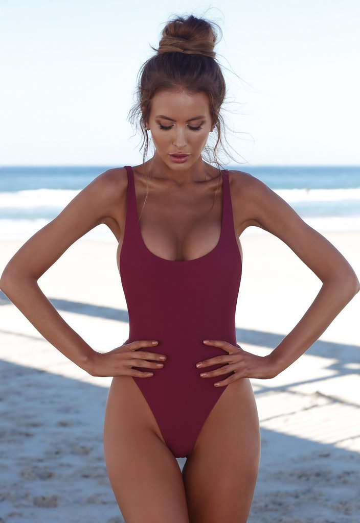 Polyester FashionBikini(Conjoined wine red -S) NHHL0443-Conjoined-wine-red-S