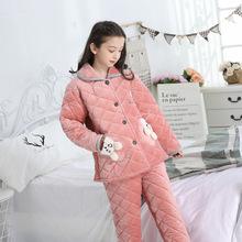 儿童睡衣冬季加厚三层夹棉法兰绒女童小孩中大童家居服棉袄套装