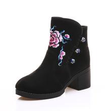 海棠花 麂皮绒高跟绣花加绒二棉靴女式短靴冬季新款绣花靴