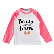 兒童秋衣春秋款 女童字母蝴蝶結長袖打底衫男童圓領上衣童百搭T恤