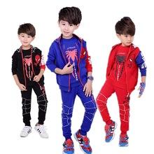 运动套装蜘蛛侠童装男童三件套小孩衣服卫衣秋季大?#34892;?#31461;