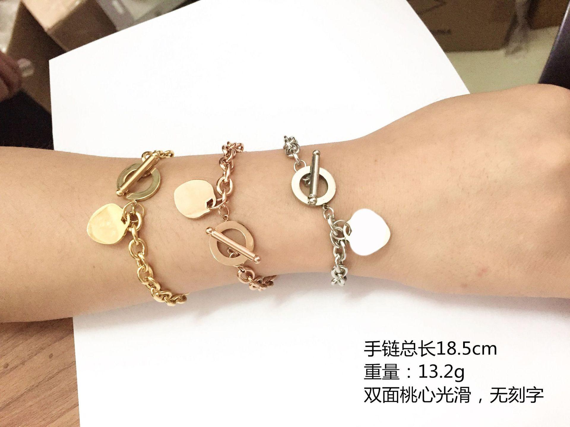 fashion love stainless steel bracelet peach heartshaped letter rose gold bracelet Tshaped titanium steel bracelet wholesale nihaojewelry NHKN228198