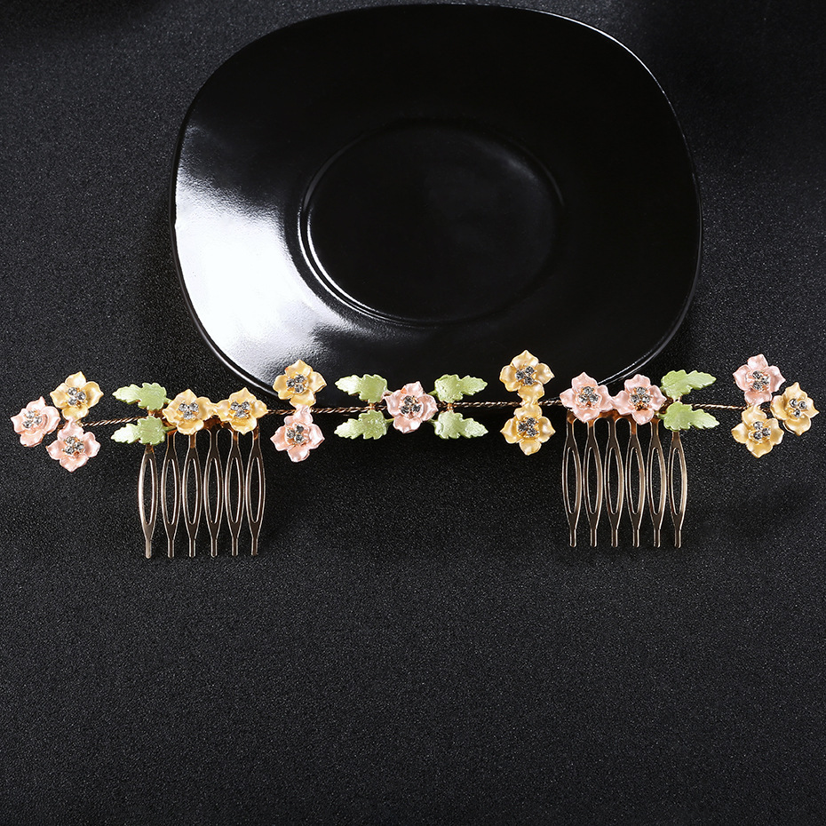Imitated crystalCZ Fashion Flowers Hair accessories  yellow NHHS0132yellow