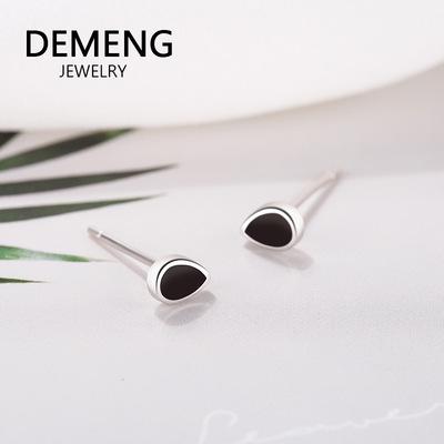 S925纯银几何滴胶耳钉 原创水滴形耳环 百搭不规则个性耳饰品