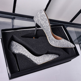 Bride's Wedding Shoes Women's New Silver Sequin High-heeled Tip Fine-heeled Crystal Bridesmaid's Wedding Dress Single Shoe Annual Meeting