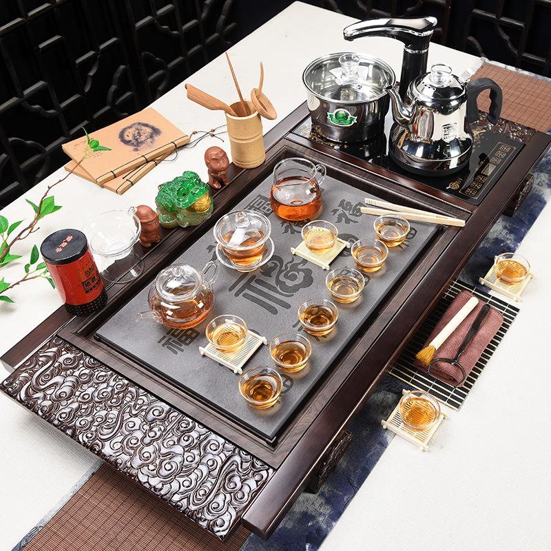 茶具套装家用整套功夫陶瓷全自动四合一家用茶台茶道实木茶盘紫砂