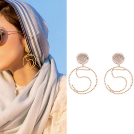 New European and American simple basketball lady twist big circle number 5 earrings personality exaggerated alloy earrings