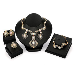 European and American cross-border fashion creative water drop necklace earrings bracelet ring jewelry four-piece bridal jewelry