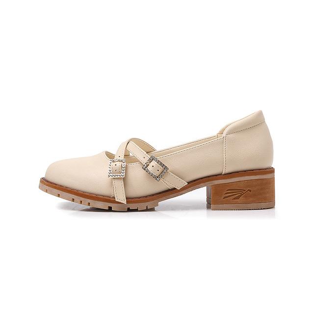 Q-5 复古2019夏季新款单鞋女中跟时尚金属一字扣圆头韩版大码女鞋