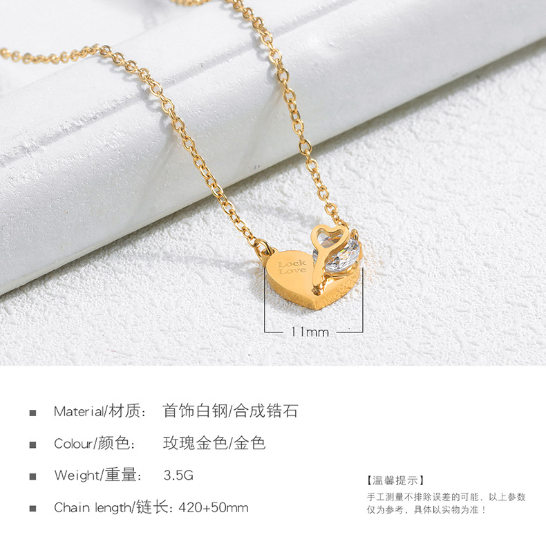 Titanium&Stainless Steel Fashion Geometric necklace  (Rose alloy) NHOP3133-Rose-alloy