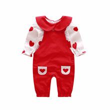 2019春秋新款女宝宝背带裤套装婴儿甜美爱心两件套女童一周岁套装