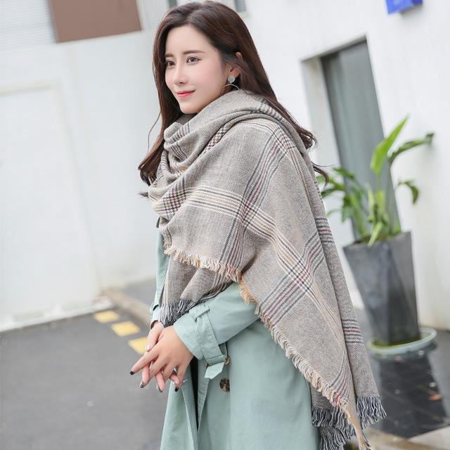 女款围巾杨幂新款千鸟格格子披肩毛线羊绒围巾韩国校园风厂家直销