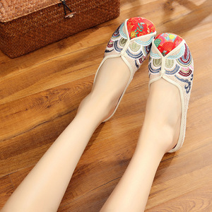 Fishscale chinese hanfu performing fairy embroidered shoes soft soles women's empress princess cosplay shoes for folk square dance shoes
