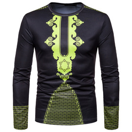 new men's fashion totem 3D digital printing round neck long-sleeved T-shirt CT451
