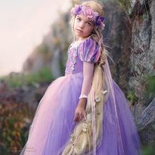 外貿童裝冰雪奇緣索菲亞長發公主裙女童連衣裙兒童表演出禮服長裙