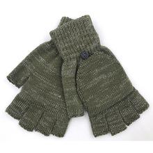 厂家批发成人亮丝半指翻盖手套 单色绿色加厚舒适针织手套 接受定