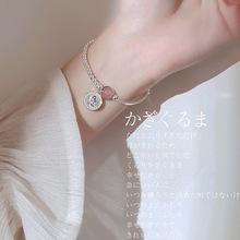 S925银?#19968;?#31881;红草莓晶手链女款时尚潮流个性手饰品